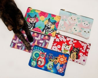 "Cat Art Zip Pouch - 9.5""x6"""