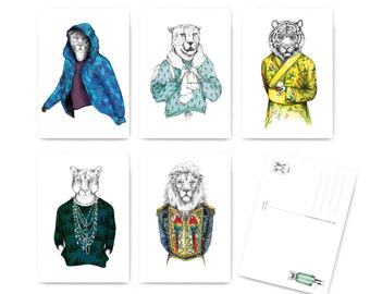 Illustrated fashion-postcard set- CATWALK
