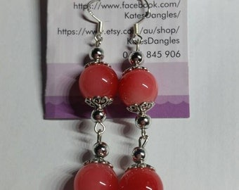 Red earrings,  silver findings,  silver earrings, red beads, silver beads, sterling silver earrings, sterling silver jewelry