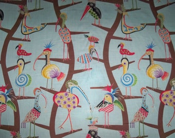 CLARENCE HOUSE Whimsical POLLY Birds Linen Toile Fabric 10 yards Blue Multi