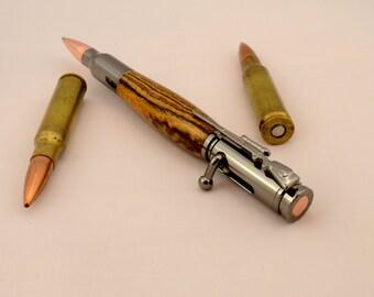 Wooden Bolt Action Pen - 30 Caliber Rifle Bullet Ballpoint Pen - Rifle Bullet Writing Pen - EDC Everday Carry - Mens Birthday Gift