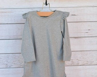 Grey Tunic, long sleeve tunic, flutter sleeve, Heather grey, handmade dress, handmade tunic