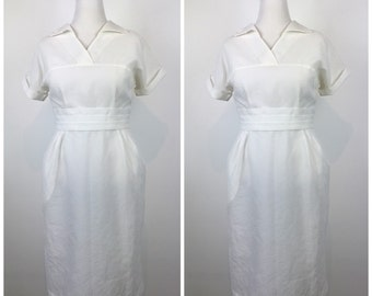 Vintage 40s dress / 2 matching dresses / 1940s dress / 1950s dress / White nurse dress / pinup dress / Day dress / M1084