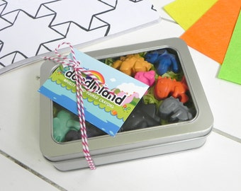 Dinosaur Crayon Gift Tin | Dinosaur Party | Birthday Gift | Gifts for children | Dinosaur Favour | Rainbow Crayons | Dinosaur Gift |Dino Fan