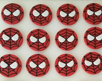 Spiderman fondant cupcake toppers