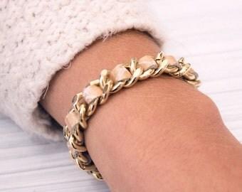 Leather bracelet, gold bracelet, unique jewelry, leather and gold, elegant bracelet, unique gift