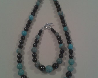 Parure necklace and bracelet in Turquoise and Obsidian