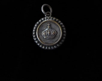 Antique French Crown Initial N Pendant