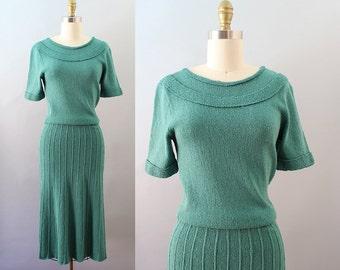 1950s Knit Dress / Blooming Shamrock Dress / Vintage 40s 50s Sweater Dress / XS S M