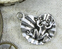 Set of (6) Silver Frog on a Lily-pad Charms,  6 per package ANM086