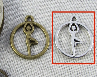 Set of (8) Silver Yoga - Tree Pose Charms, 8 per package. SPO042