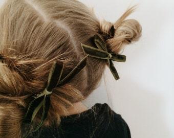 Velvet bow in moss