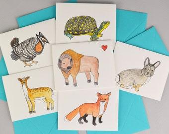 Prairie Animals Blank Watercolor Greeting Card Set