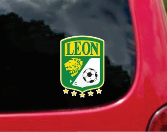 2 Pieces Leon La Fiera Futbol Mexico  Decals Stickers Full Color/Weather Proof. U.S.A Free Shipping