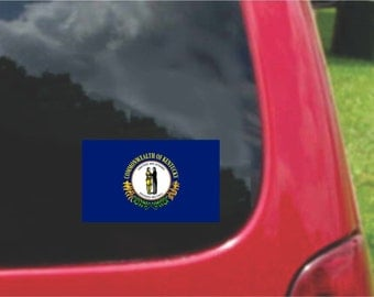 2 Pieces Kentucky State Flag Vinyl Decals Stickers Full Color/Weather Proof. U.S.A Free Shipping