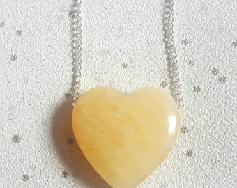 Aragonite crystal necklace loveheart necklace Heart necklace crystal necklace Aragonite crystal