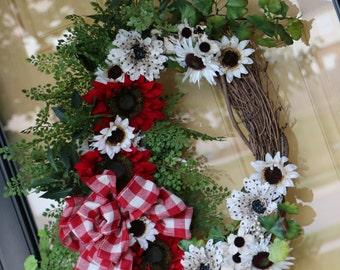 Fall wreath Sunflower wreath Harvest wreath Red Sunflower wreath SHIPS NOW