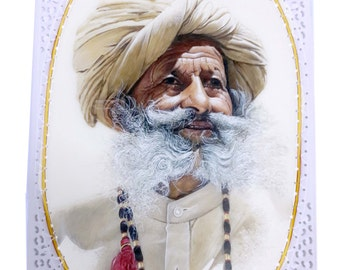 the original rajasthani old man painting