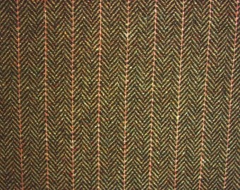 Brown herringbone wool tweed fabric by the metre stripes