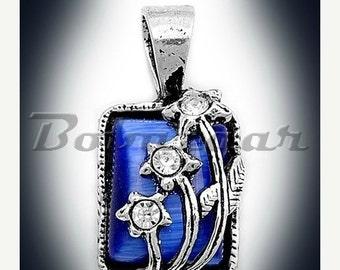 ON SALE 925 Sterling Silver Blue Cat's Eye Pendant - 15 mm