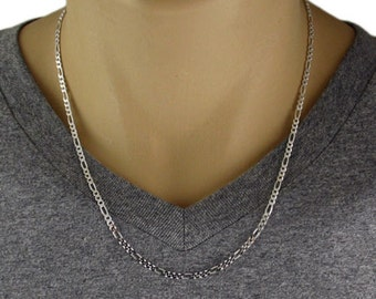"Men's 925 Sterling Silver Figaro Chain Necklace - 080 Gauge 3 mm - 20""/22""/24"""