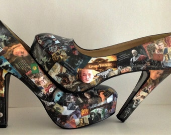 Hand Customised Decoupage Game of Thrones Shoes. UK 3-8