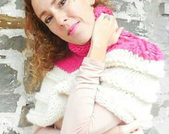 Knit poncho Womens knit poncho, Ribbon Candy detailed and super bulky color blocked poncho and shrug
