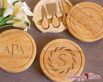 Personalized Cheese Board with Monogram or Initial includes Tool Set - Wedding Gift or Housewarming Gift