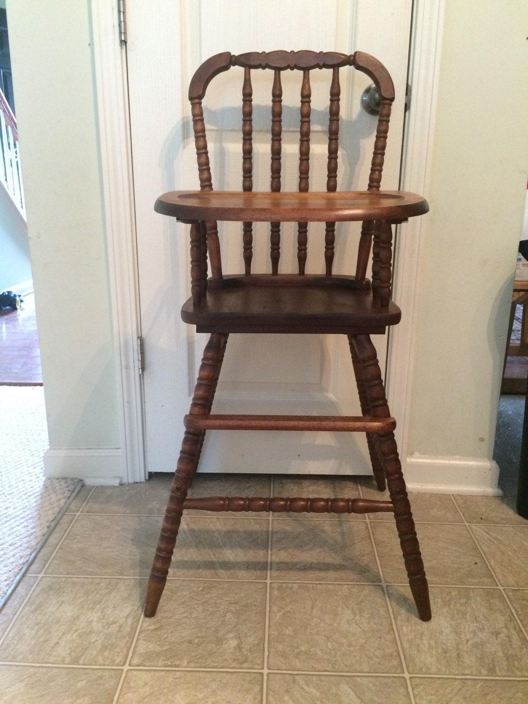 Vintage wooden high chair jenny lind antique high chair for Antique high chairs