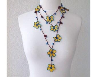 Beadwork Necklace, Crochet Lariat Necklace, Strand Necklace, Crochet Flower Necklace, Lariat Necklace, Flower Necklace, Lace Jewelry
