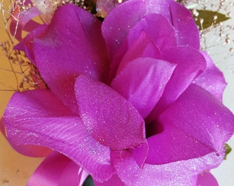 Pink Fuchsia Corsage or Wristlet for Prom or Weddings