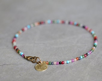 Colorful Stone Beaded Anklet, Agate, Onyx, Howlite and Brass Charm Anklet.