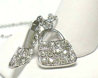 Crystal Shoe High Heels Purse Handbag White Gold Plating  Pendant Necklace with Gift Box
