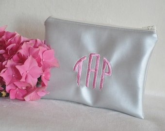 Silver cosmetic bag - monogram clutch purse - personalized bridesmaid gift - zipper pouch - make-up bag - gift for her - wedding accessory
