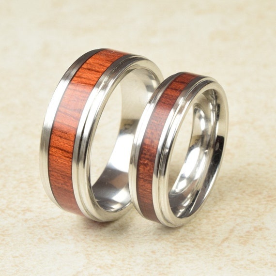 Cobalt Amp Blood Wood Lined Ring Engagement By ForeverWoodRings