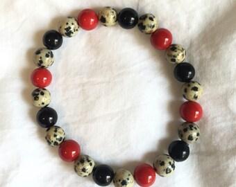 Crimson and Black Speckled Bracelet