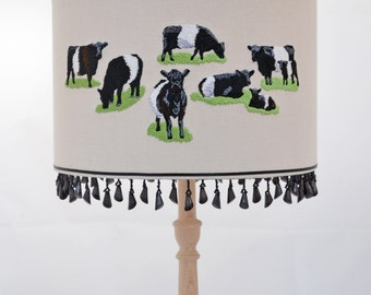 Belted Galloway embroidered lampshade