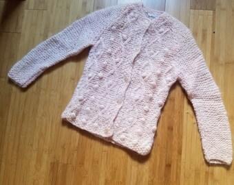 Vintage Italian Wool Rose/Cream XS Cardigan