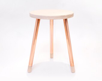 Copper Wood Stool (3-Leg)