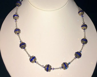 Gorgeous Handmade Sterling Silver Accent with Blue Gems Beaded Necklace with Sterling Silver Toggle