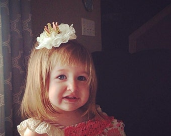 Gold Crown Clip or Headband/Lace Flower Hair Bow/Birthday Bow/Photo Prop Hairband/