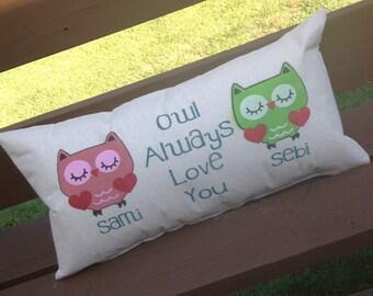 Owl Always Love You, Owl Pillow, Nursery Pillow, Childs Room Pillow, Bird Pillow