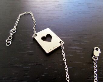 Queen of hearts bracelet |Heart bracelet |Heart symbol bracelet |Hearts playing card bracelet |Silver heart bracelet |Silver hearts jewelry