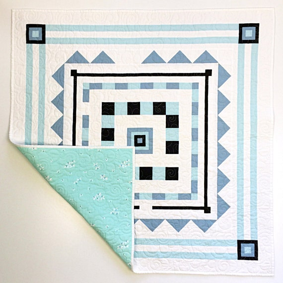 Pieced Heirloom Crib Quilt - Wonderland Maze in Powder Blue - READY-to-SHIP