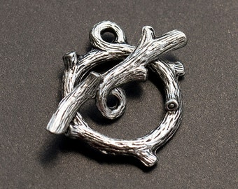 Tree Branch Toggle Clasp, Nature Toggle, Antique Silver, Made in the USA, 20x23mm, 1 Pc – AB31