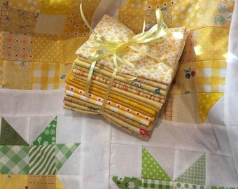 14 Assorted Yellow Fat Quarters