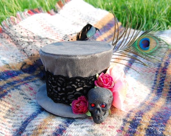 Skulls and Roses Day of the Dead Tiny Top Hat