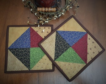 Scrappy Quilted Potholders Quilted  Hot pads Quilted Pot holders Trivets