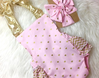Baby Girl Romper, pink and gold hearts romper, Valentines romper, powder pink heart romper, pink and gold chevron, valentines outfit