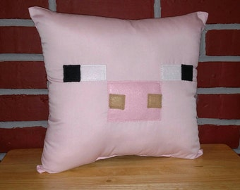 Pink Pig Inspired by Minecraft Square Pillow